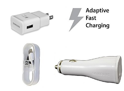 Fast Adaptive Charging Combo! OEM Authentic Samsung Travel Charger+Car Charger+5 foot Micro USB 2.0 Data Charging Cable for Galaxy Note 4 5 S6 S6 Edge + S7 S7 Edge EP-LN915U EP-TA20JWE ECBDU4EWE