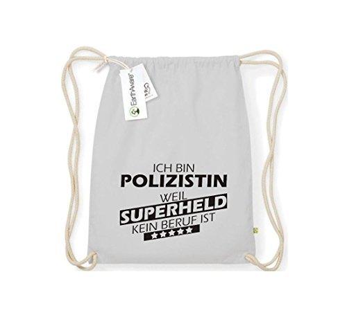 Shirtstown Orgánico Saco de gimnasia Estoy Mujer policía, weil Superheld sin Trabajo ist gris claro