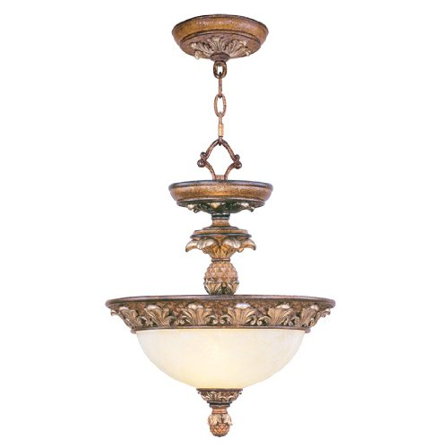 Livex Lighting 8470-57 Savannah 2 Light Venetian Patina Flush Mount/Chain Hung with Vintage carved Scavo Glass