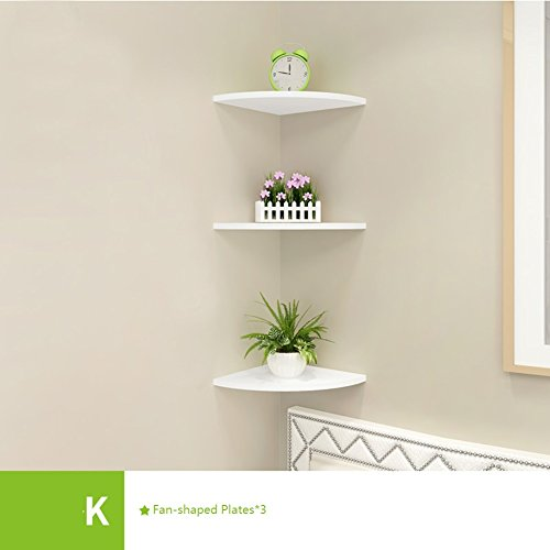 Wall mount corner shelf,Decorative wall book shelf set hanging flower rack fan-Shaped plates free of punch for living room or bedroom-L 26x26cm(10x10inch) Cube Shape Award