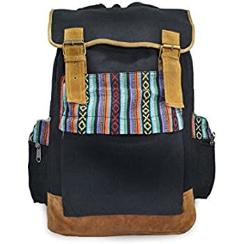 b9697be24110 Mato Boho Canvas Backpack Travel Hiking Rucksack Bohemian Laptop School Bag  Tribal Aztec Baja Pattern Black
