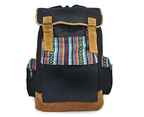 Mato Canvas Backpack Travel Hiking Rucksack Boho Bohemian Laptop School Bag Tribal Aztec Pattern Black by Mato