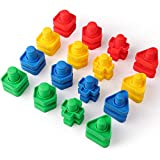 Coogam Jumbo Nuts and Bolts Set Building Construction Toys 32PCS Occupational Therapy Tools Screw Nut Toy Matching Fine Motor Skills for Toddlers Baby