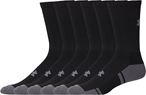 Under Armour Resistor 3.0 Crew Athletic Socks (6 Pack), Black/Graphite, Medium