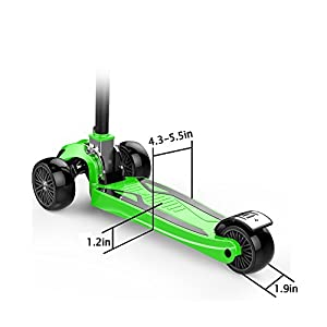"Kids Kick Scooter Childern Outdoor Toy/LED Flicker 2""widthX3 PU Flashing 3 Big Wheels/Pedal with Stainless Steel/Folding 4 Adjustable Height T Bar/Safety Gravity Steering /4-13 Years Old Green"