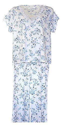 (Carole Hochman Capri Plus Size Pajamas PJ's (White with Blue & Navy Floral, 1X))