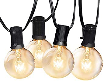 Yuusei Outdoor String Lights G40 50ft 15m Waterproof Garden String Bulb Lights Mains Powered Globe Festoon String Light With 25 2 Bulb Clear Bulbs For Patio Backyard Party Weeding Xmas Amazon Co Uk Lighting