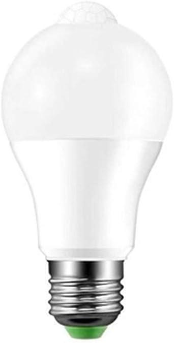 Morran Bombilla LED con Sensor de Movimiento (3500K, 6500K infrarroja, para Garaje, Porche, escaleras, iluminación de Pasillo, luz Blanca y Luz cálida para E27) (blanco): Amazon.es: Iluminación