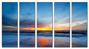Vibrant Canvas Prints Sunset beach print on canvas, beach canvas prints, sunset ocean print, seascape canvas designs, framed 5 panel print, sunset wall art