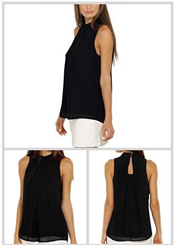 Femme Rond Col Blouse Shirt Chemisier Soie Chemise Bigood Manche sans T Mousseline de Noir Top qwPxSfH7t
