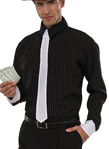 Speakeasy Costume Men (Men's Roaring 20s Speakeasy Mobster Gangster Shirt Costume Large 42-46)