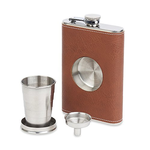 New Scale 8oz Brown PU Leather flask with Telescopic Cup Insert in Black Gift Box Set Premium with Funnel and 2 Cups Stainless Steel and 100% Leak Proof for Discrete Liquor Shot Drinking