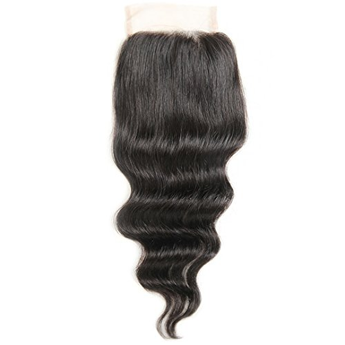 ALI GRACE Brazilian Virgin Loose Wave Closure 4x4 Remy Human Hair Swiss Lace Closure Natural Color Free Part 18inch