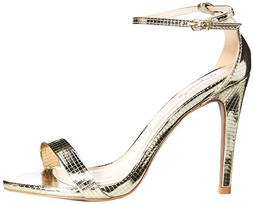 Women's Qupid Grammy Heeled Sandal Texture 01 Champagne Zwqpvwd