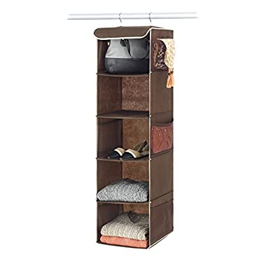 Zober 5-Shelf Hanging Closet Organizer for Accessory and Clothes Storage | Canvas Hanging Shelves for Shoe Hanging Storage (Java)