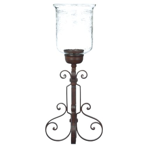 Zodax Barcelona Rustica Wrought-Iron and Glass Hurricane Candleholder by Zodax