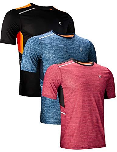 - GEEK LIGHTING Men's Athletic Quick Dry Short SleeveRound Neck Lightweight Breathable Reflective T Shirts(Medium)