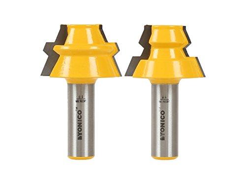Yonico 15220 22.5-Degree Lock Miter Glue Joint Router Bit Set 1/2-Inch Shank