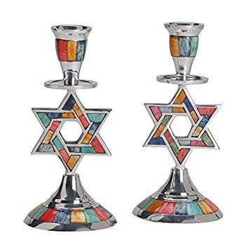 Aluminum Shabbat Star of David Candlesticks with Multicolored Decorative Inlay / Set of (Star Of David Candlesticks)