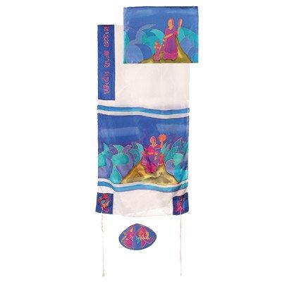 Standard Tallit Bag (Tallit Prayer Shawl Gadol + Bag + Kippah + Atara Set - Yair Emanuel HAND PAINTED SILK MIRIAM & DEBORA WHITE)
