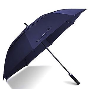 62 Inch Automatic Open Golf Umbrella - Extra Large Oversize Double Canopy Vented - 210T Teflon Rain Repellant Protection Sun, Rain, Sports - Windproof Waterproof Stick Umbrellas, Formal Blue