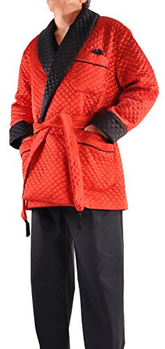 Italian Pure Silk Quilted Smoking Jacket - X-Large/Red and Black