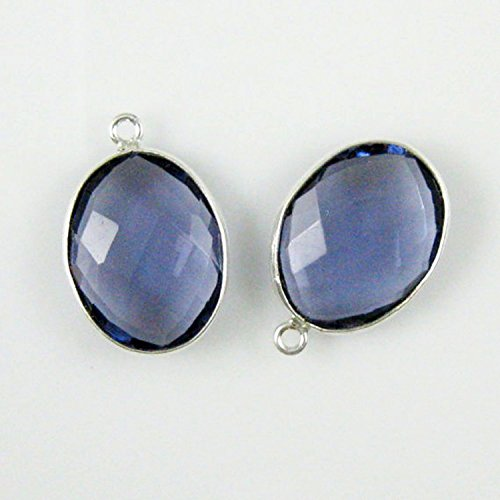 Very Finest Natural Quartz Iolite Bezel faceted Oval 10x14mm 1loop Silver plated 2pcs lot ()