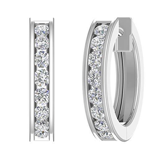 14K White Gold Hoop Huggies Channel Set Diamond Earrings (I1-I2 Clarity, 1/2 carat) - IGI Certified
