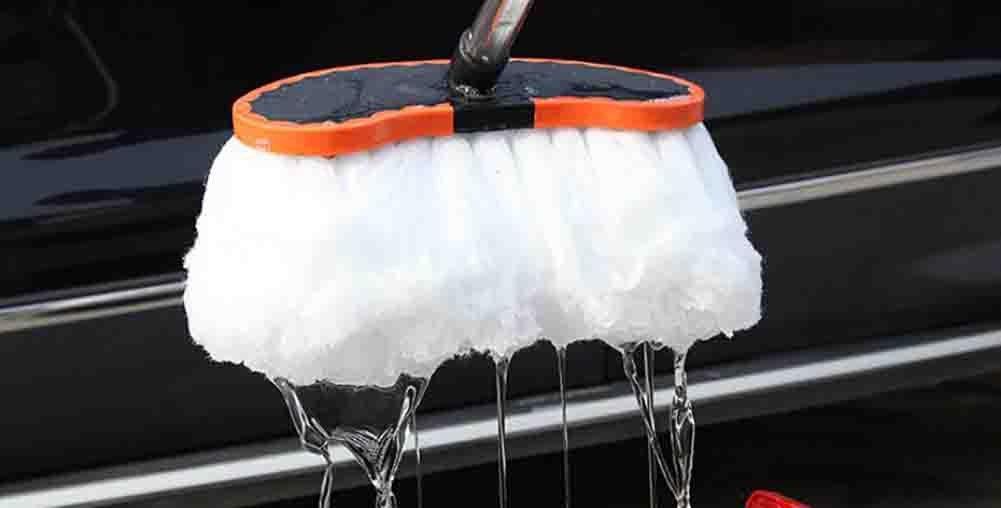 BMDHA Teleskopisch Autowaschb/ürste Langen Griff Kann Rotieren Starke Wasseraufnahme Weicher Pinsel 145 cm