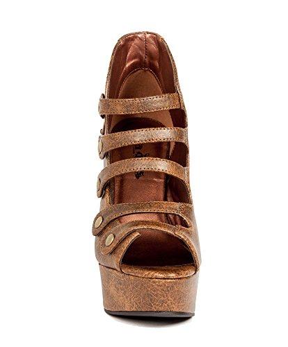 Zapatos Hades - Tacón Vera Steampunk Con Armadura Industrial Para El Tobillo Marrón