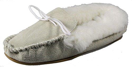 libye fabriqué en Angleterre Mesdames Chaussons Beige en daim avec doublure en polaire