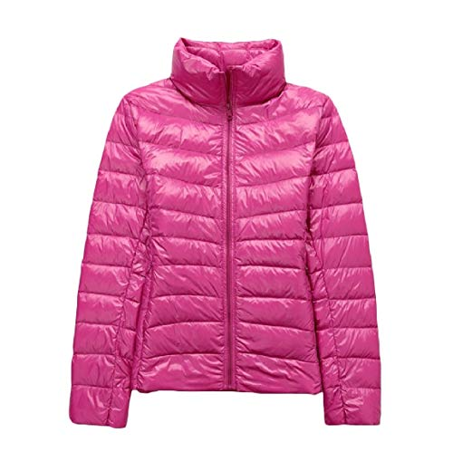 Lightweight Red Collar Down MogogoWomen Coat Packable Rose Size Plus Ultra Stand Xqq5v7