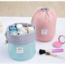 Mermaid Barrel Shaped Travel Cosmetic Bag Nylon High Capacity Drawstring Elegant Drum Wash Bags Makeup Organizer Storage Bag (Green)