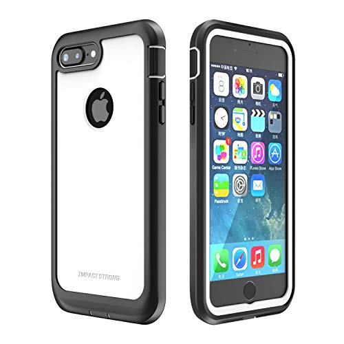 IMPACTSTRONG iPhone 7 Plus/iPhone 8 Plus Case, Ultra Protective Case with Built-in Clear Screen Protector Full Body Cover for iPhone 7 Plus/iPhone 8 Plus (White)