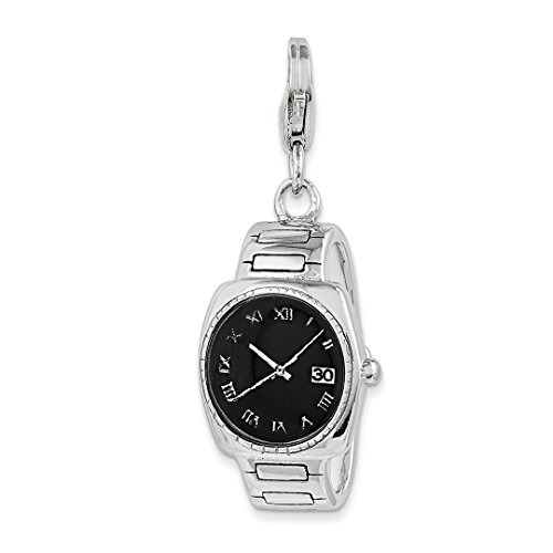 925 Sterling Silver Enamel Wristwatch Lobster Clasp Pendant Charm Necklace Fine Jewelry For Women Gift Set from ICE CARATS