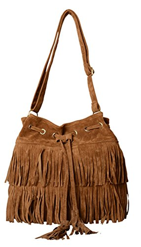 MiCoolker Vintage Faux Suede Bohemian Hippie Tassel Fringe Crossbody Bucket Bag Pouch Purse Shoulder Bag Handbag (Brown) Hippie Suede Shoulder Bag