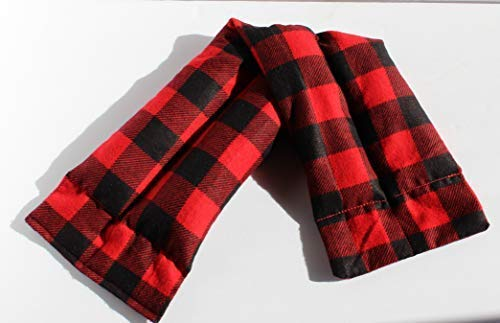 Handcrafted Red Bag - Microwavable Heating Pad, Cozy Plaid Flannel, Natural Rice Filling, Handcrafted (Red and Black Plaid)