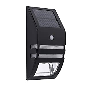 Solar Fence Lights Led Wall Mount Sconce Accent Motion Sensor Lamp Waterproof Security White Lighting For Patio Yard Outdoor Stair Step Deck Driveway Walkway Metal Safty Nightlight 4PACK