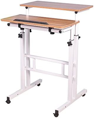 sogesfurniture Height Adjustable Stand up Desk Computer Stand Desk Home Office Desk with Standing and Seating,Oak BHUS-101-OK