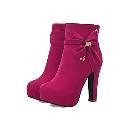 Allhqfashion Women's Low-top Zipper Frosted High-Heels Round Closed Toe Boots Peach xKD3iV4i7