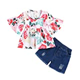 NUWFOR Toddler Kids Baby Girls Ruched Floral Flowers Tops Solid Short Casual Outfit Set(White,12-18 Months)
