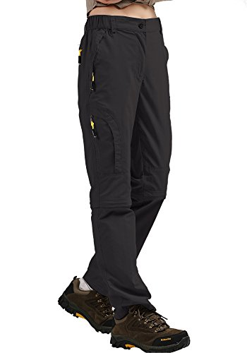 Women's Convertible Athletic Quick Drying Lightweight Outdoor Hiking Travel Cargo Pants #4409,Black,XXL,35-36