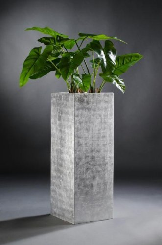 Exklusiver Blumenkübel Pflanzkübel Fiberglas Block 80 cm, Silber ...