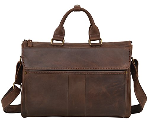ALTOSY Retro Crazy Horse Leather Laptop Bag Briefcase Messenger Shoulder Bag 6223-1 (Dark Brown) by Altosy