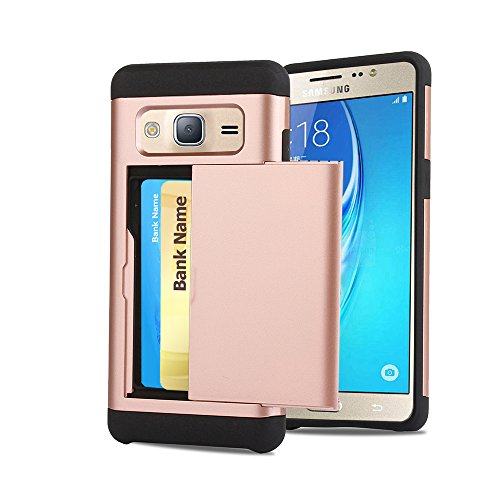 Galaxy J3 Case, CaseTop [Easy 2 Card Access] Sliding Back Door Card (Access Rear Doors)