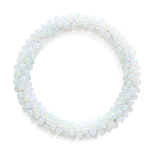 - MHZ JEWELS Opal Faceted Beads Stretchy Bracelet for Women White AB Crystal Gemstone Wedding Bracelet Jewelry