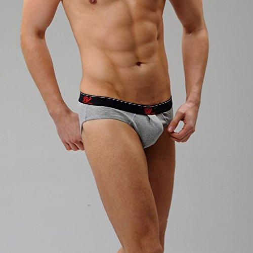 Honghu Solid Color Coton Slips Homme Size L Gris