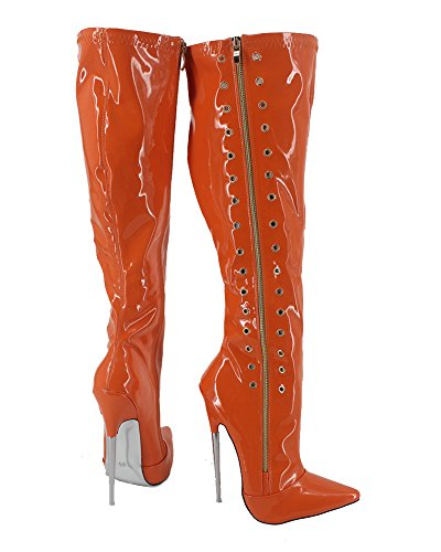 Wonderheel thin metal heel pointed toe orange lack langschaft stiefel knee high boots