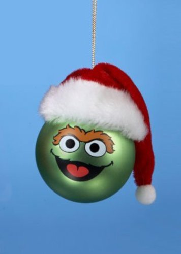 Oscar The Grouch Christmas Tree Ornament Santa Hat