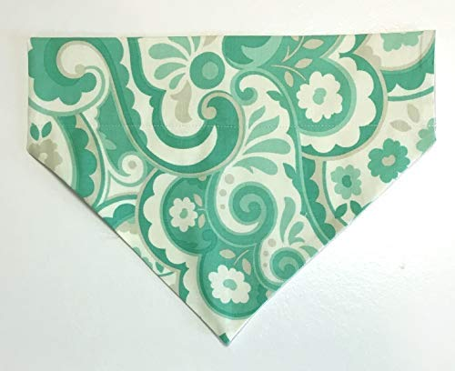 Dog Bandana Green Design no tie, slip over collar Small, Medium or Large Handmade